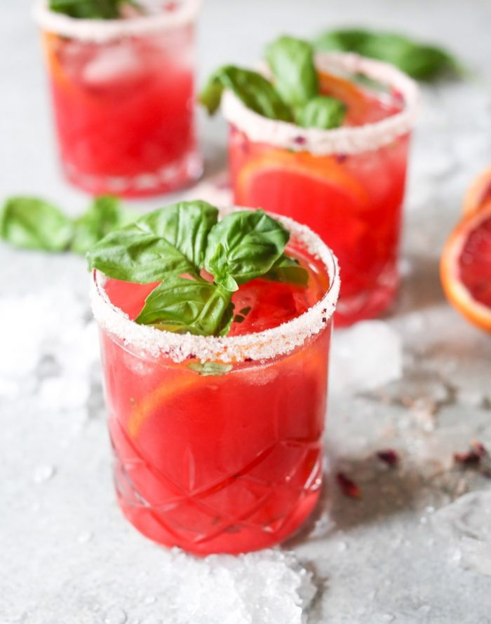 Skinny Blood Orange-Basil Margarita from Domesticate Me