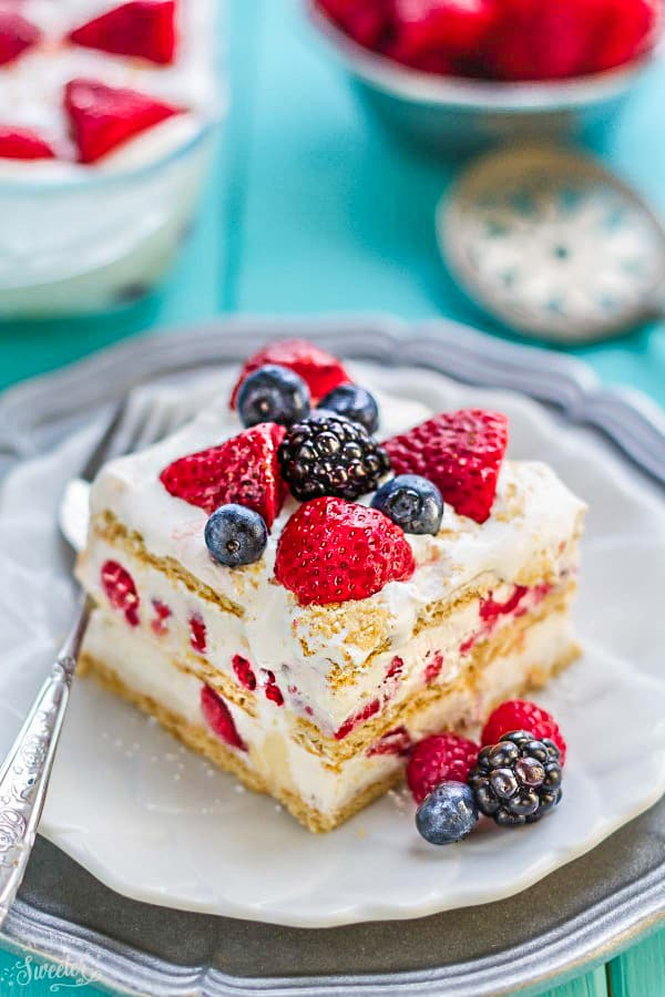 No Bake Berry Ice Box Cake from Life Made Sweater