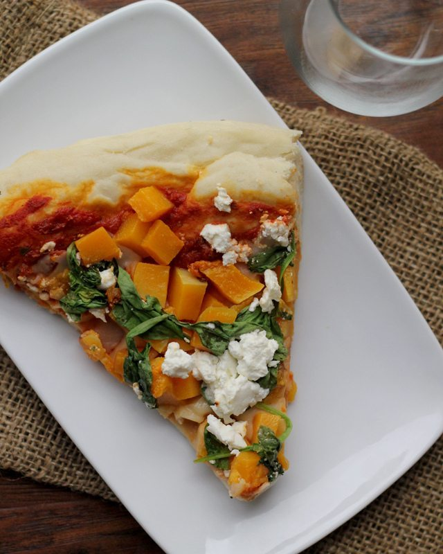 Butternut Squash Spinach and Feta Pizza