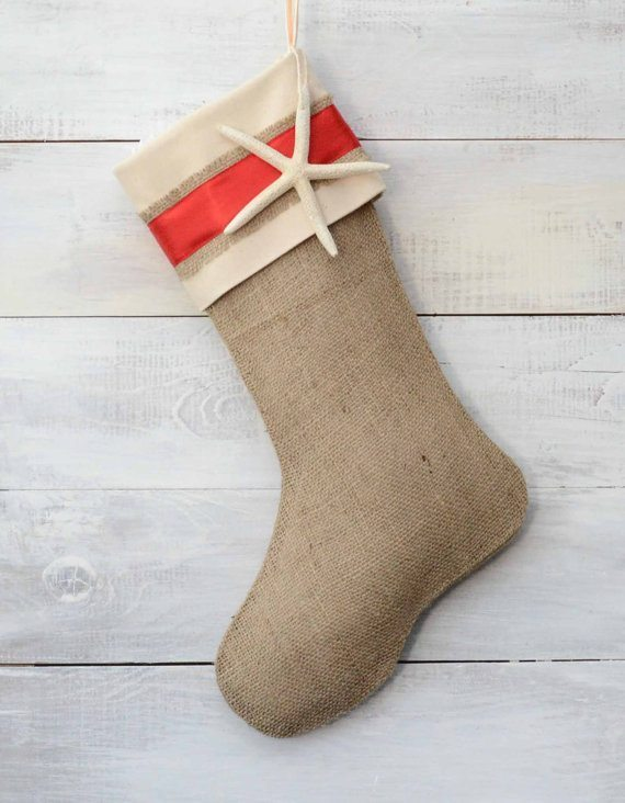 Burlap and Ribbon Christmas Stockings