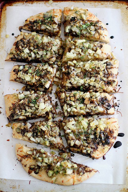 caramelized spring onion + fennel pizza with beer crust | Pizza Inspiration Blue Mountain Belle