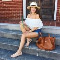 Off the shoulder shirt - Southern Girl In Pearls   Blue Mountain Belle