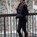 ski trip all black look - Uggs, Spanx Leather Leggings, Black Vest and Beanie