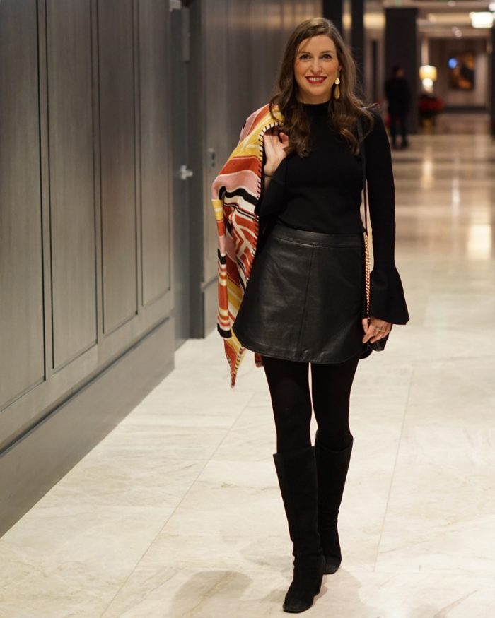 Black Bell Sleeve top with leather skirt winter look   Blue Mountain Belle