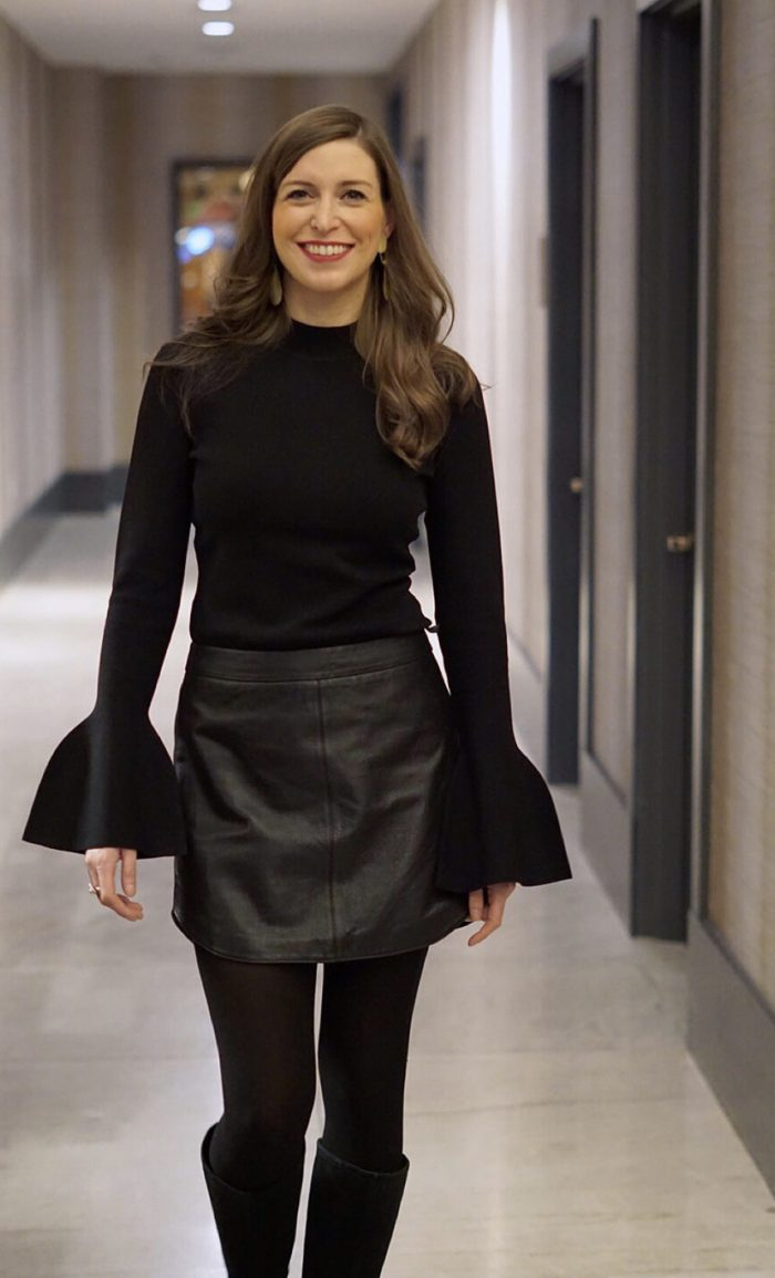 DVF Bell sleeve shirt with black leather bb dakota skirt