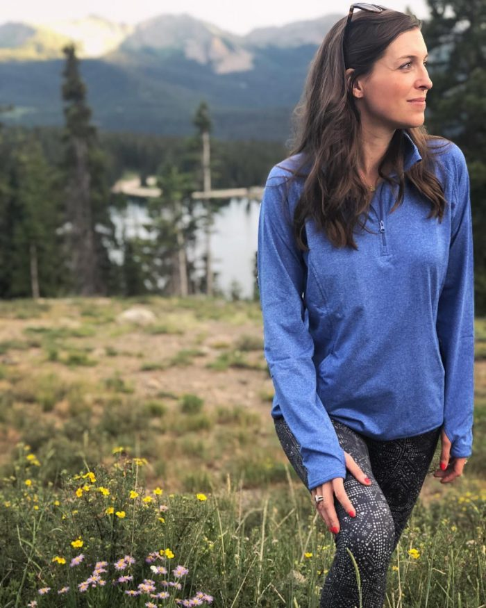 prAna leggings and amazon long sleeve pullover