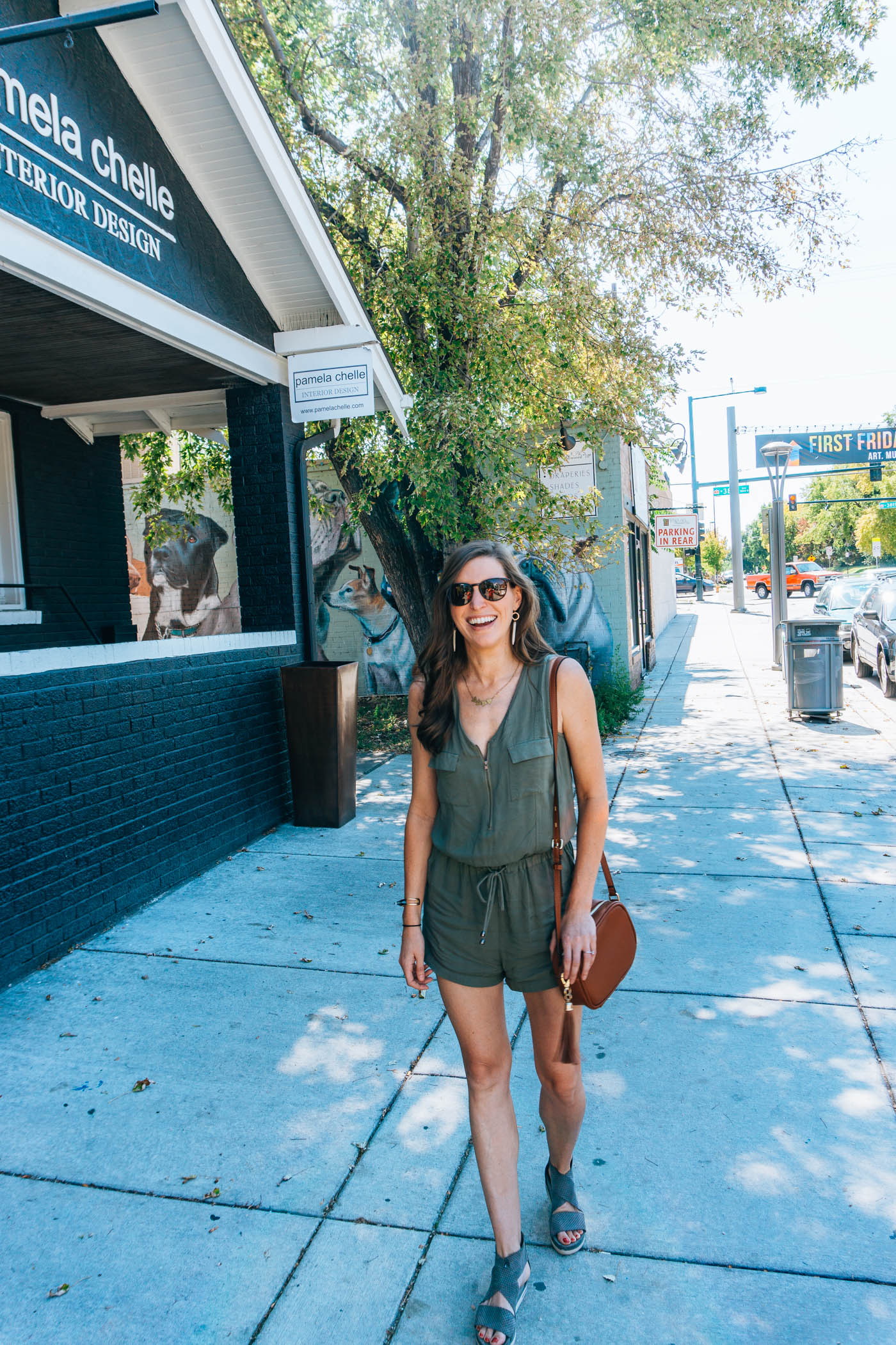 Lulu's army green romper on Blue Mountain Belle