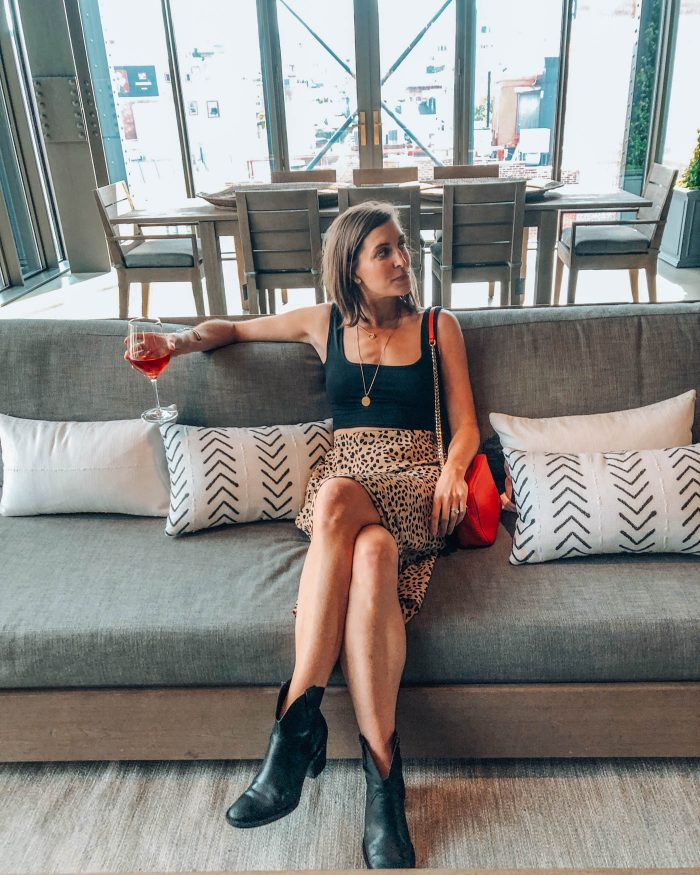 Blue Mountain Belle Drinking wine at Restoration Hardware NYC